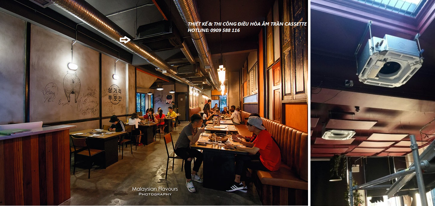 Nhà thầu lắp đặt máy lạnh công trình quận Tân Bình – Thiết kế máy lạnh âm trần quán café,nhà hàng