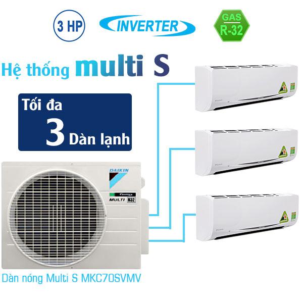Dàn nóng Multi S Daikin MKC70SVMV 3.0HP kết nối 3 dàn lạnh – Chuyên dùng cho căn hộ dân dụng